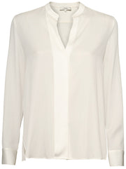 Slim Band Collar Silk Blouse - Off White
