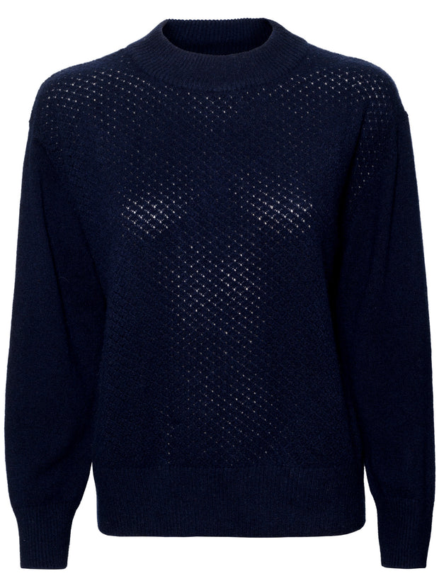 The Lace Cashmere Crew - Navy