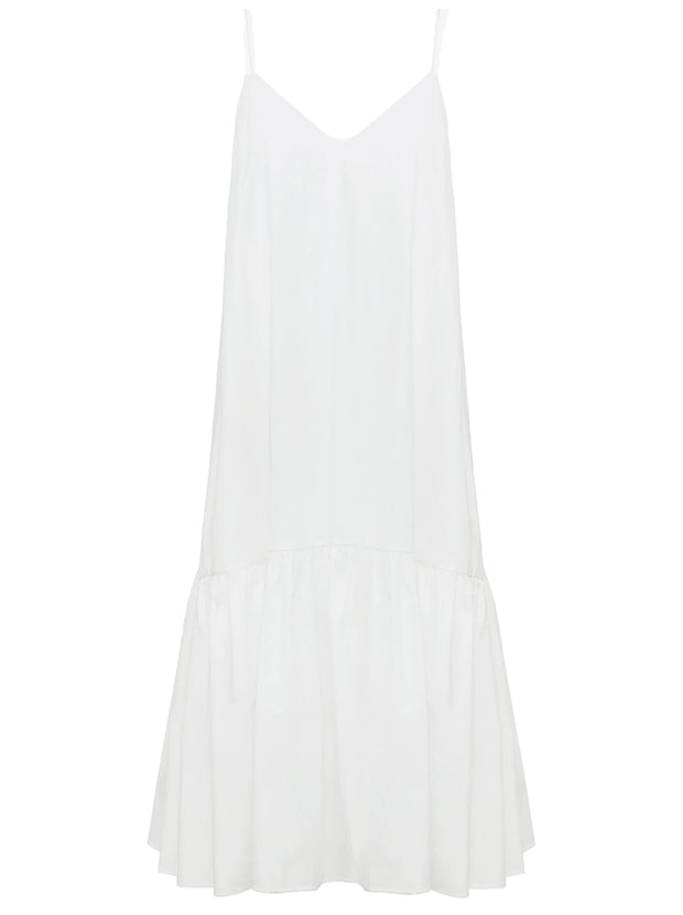 Averie Cotton Poplin Mid-Length Dress - White