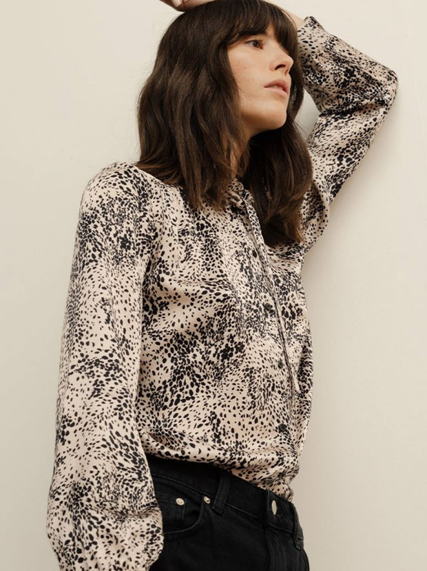 Devon Silk Satin Shirt - Painted Leopard