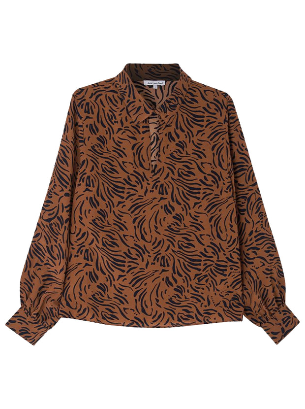 Holly Silk Blouse - Zebra Tobacco