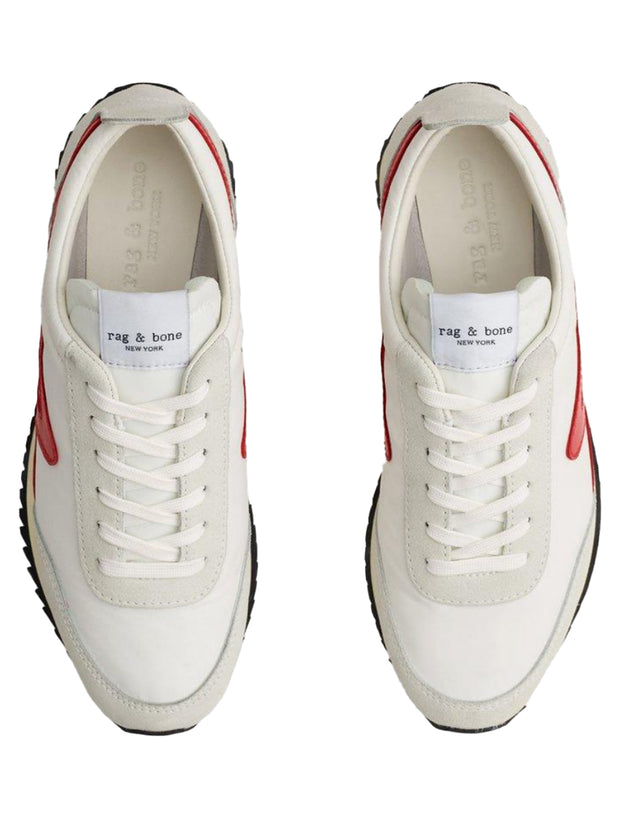 Retro Runner Leather Trimmed Sneaker - Off White