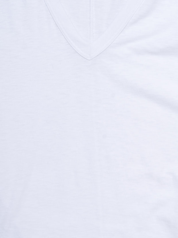 The Slub Vee Neck Tee - Bright White