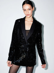 Ace Tailored Sequin Blazer - Black