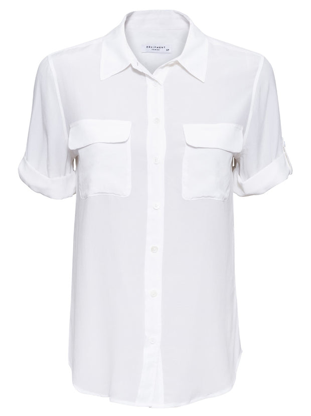 Short Sleeve Slim Signature Silk Shirt - Bright White