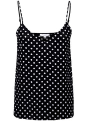 Layla Polka Dot Silk Cami - Eclipse/Bright White