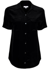 Short Sleeve Slim Signature Silk Shirt - Black