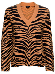 Eleanor Wool And Cashmere Blend Sweater - Chestnut Tiger Stripe
