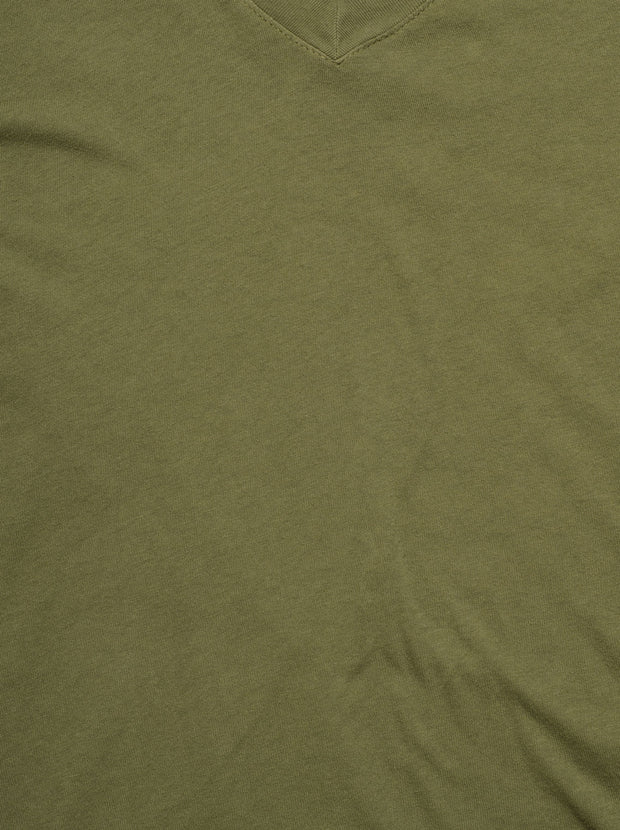 The Perfect V Neck Cotton Tee - Army Green With Destroy