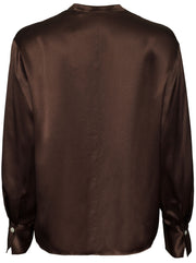 Band Collar Draped Front Silk Blouse - Chocolate
