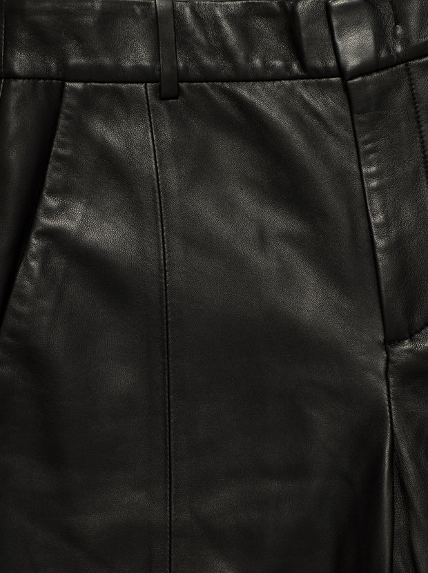 High-Waisted Leather Short - Black