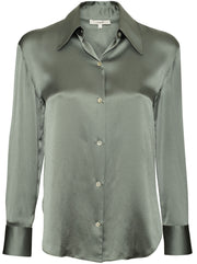 Shaped Collar Silk Blouse - Light Patina