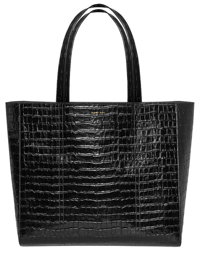Croco Leather Tote - Black