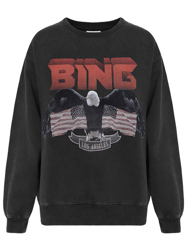 Vintage Bing Eagle Print Cotton Sweatshirt - Black