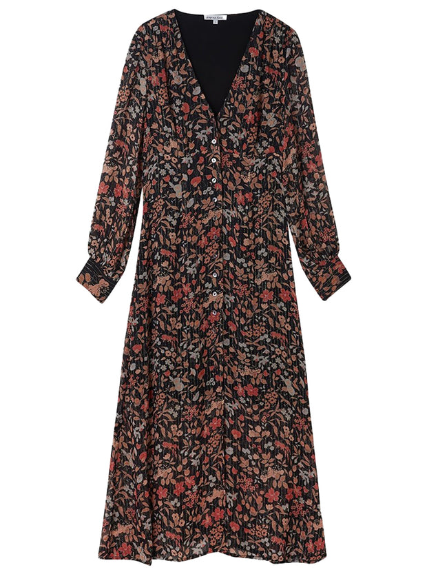 Wren Printed Floral Dress - Black Jasmine