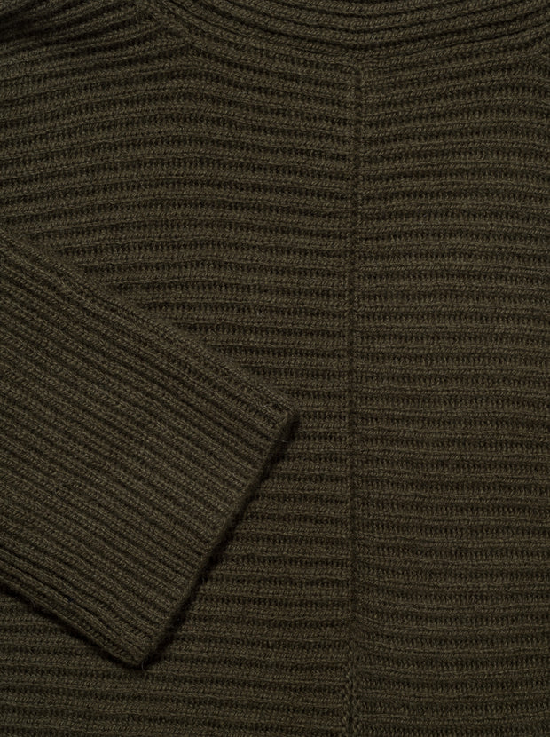 Tie Front Cashmere Blend Tunic - Olive Oil