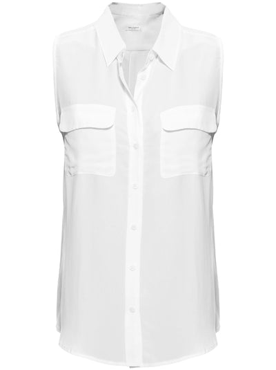 Sleeveless Slim Signature Silk Shirt - Bright White