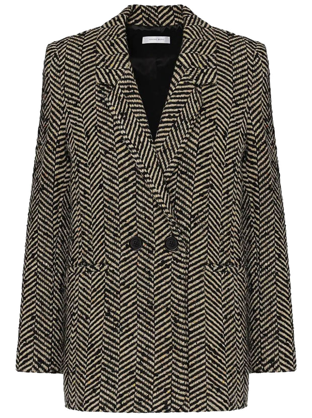 Fishbone Wool-blend Blazer - Cream and Black