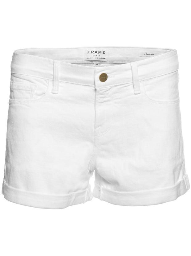 Le Cut Off  Cuffed Denim Shorts - White
