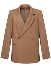 Kaia Boyfriend Fit Wool Blazer - Camel Brown