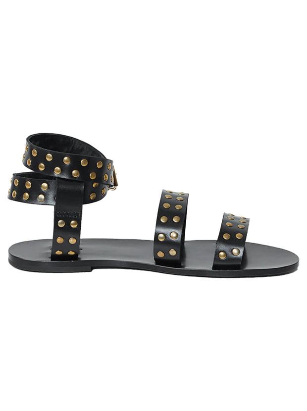 Gia Leather Sandals - Black / Gold Studs