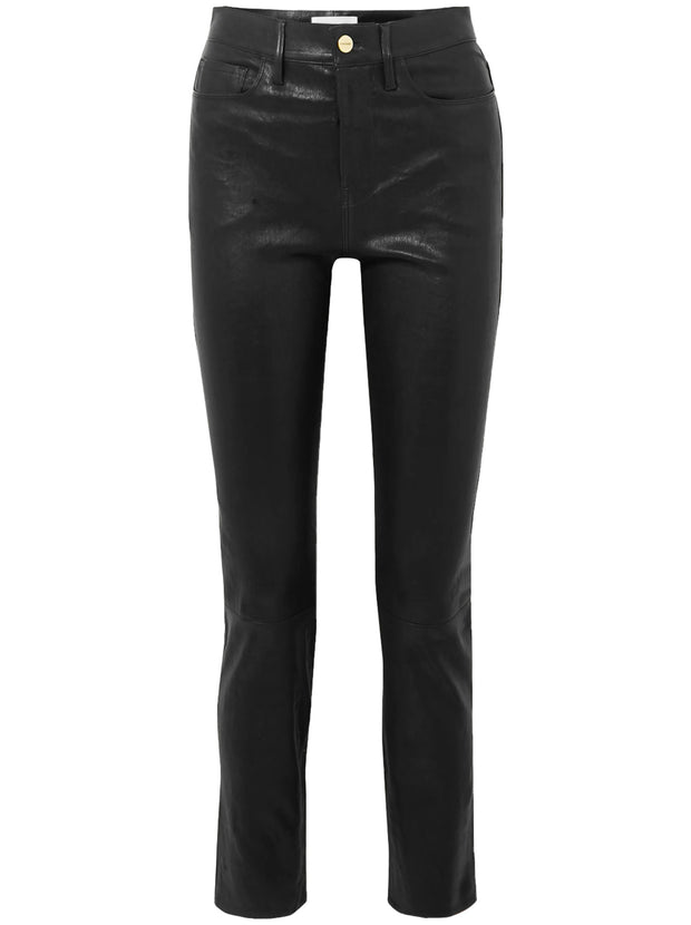 Le Sylvie Straight Leg Leather Trousers - Black