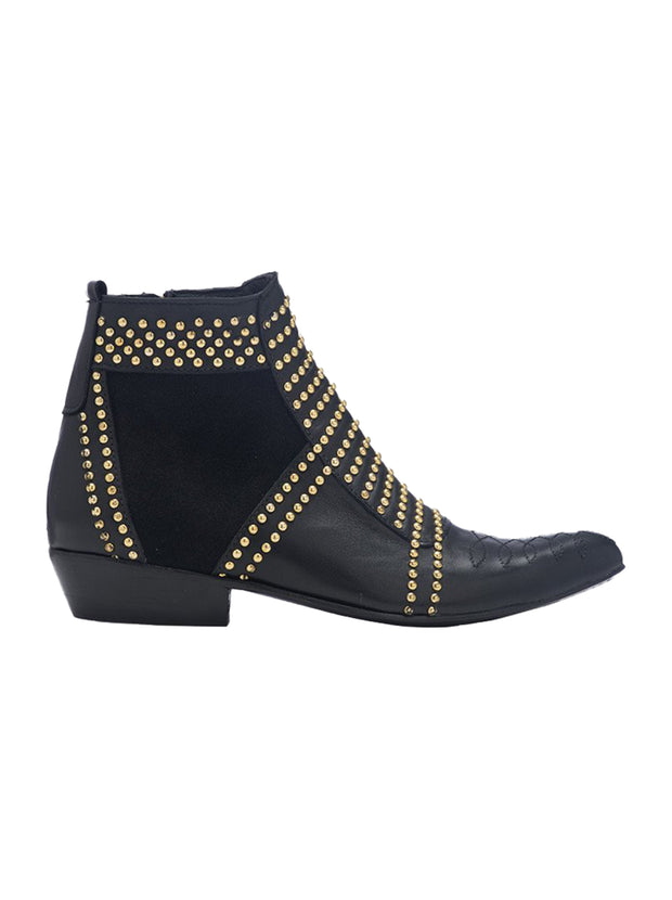 Charlie Studded Boots - Black/Gold
