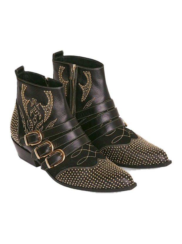 Penny Studded Boots - Black/Gold
