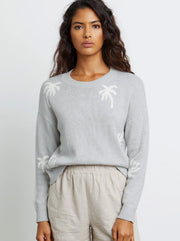 Perci Cotton Cashmere Sweater - Heather Grey Palms