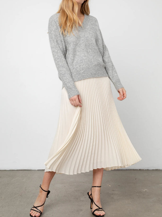 Delphine Pleated Midi-Length Skirt - Ivory