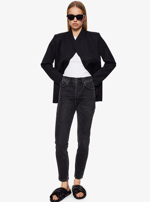 Sonya High-Rise Slim Leg Jean - Charcoal