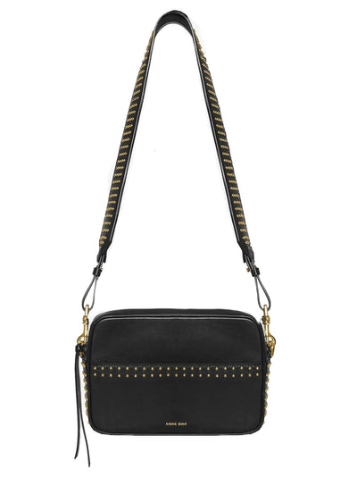 Alice Leather Bag - Black With Gold Studs
