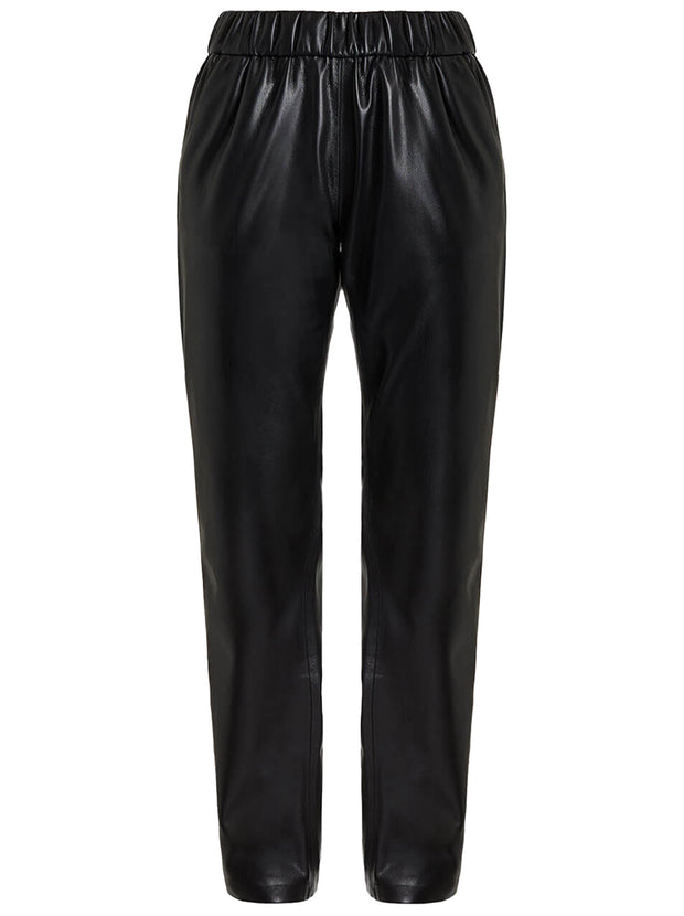 Colton Vegan Leather Trackpant - Black