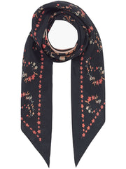 Black Jasmine Silk Neck-Tie Scarf