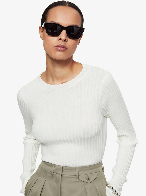 Cecilia Cotton Rib-Knit Top - Ivory
