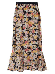 Ford Silk Floral Skirt - Confetti Black