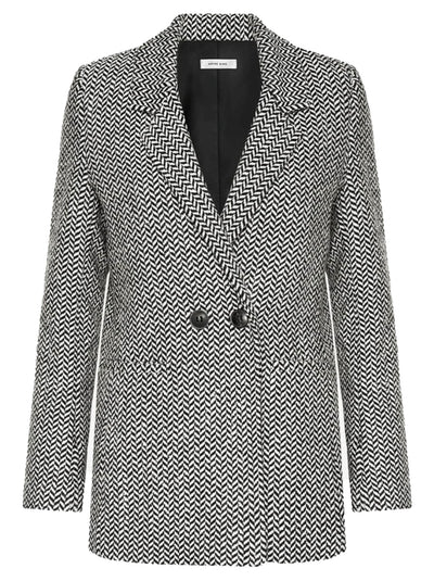Fishbone Wool-blend Blazer - Black and off white