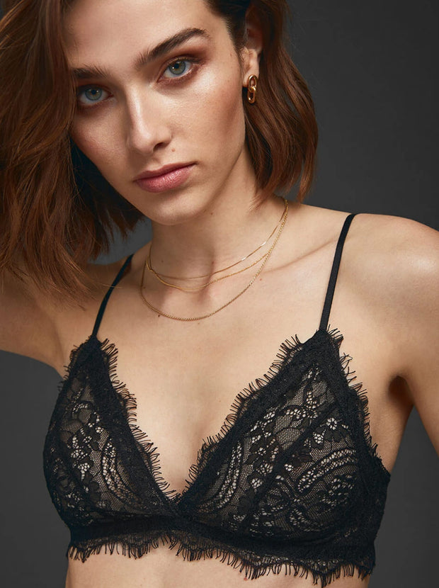 Lace Bra With Trim - Black