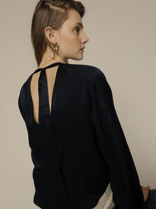Helena Silk Satin Top - Noir