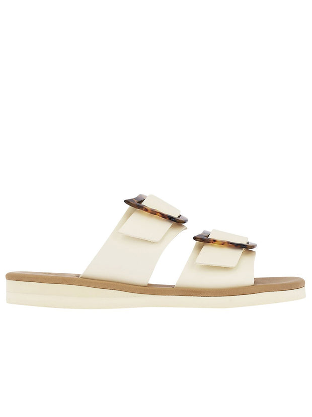 Iaso Leather Sandal with tortoiseshell buckle - Off White