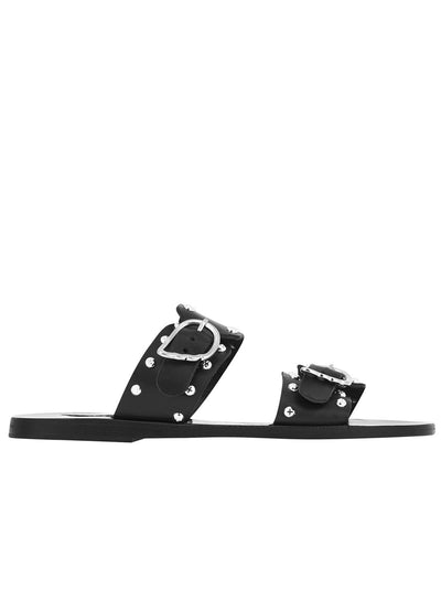 Messinia Rivets Leather Sandal - Black