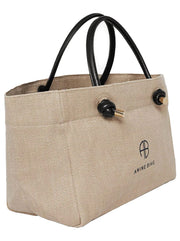 Mini-Sized Saffron Linen Tote - Brown