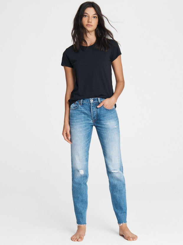 Rosa Mid-Rise Boyfriend Jean - Aquarius With Holes