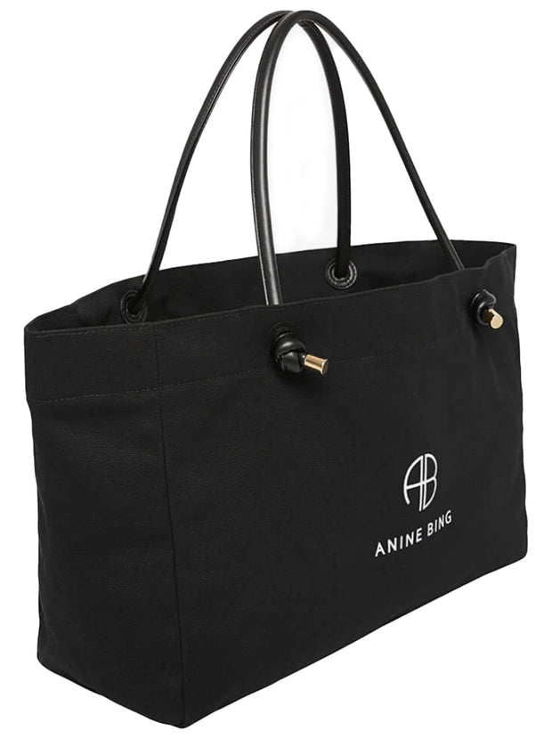 Medium-Sized Saffron Cotton Tote - Black