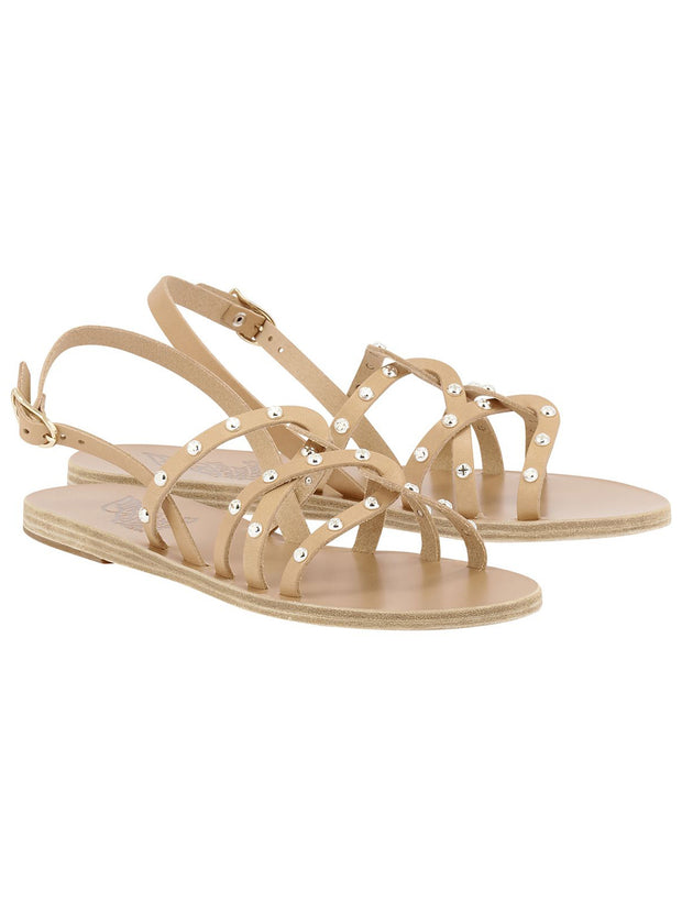 Schinousa Rivets Leather Sandal - Natural