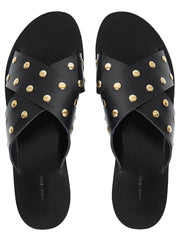 Ira Leather Studded Sandal - Black