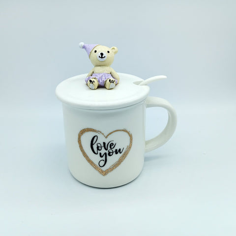 White Coffee Cup with Lid & spoon