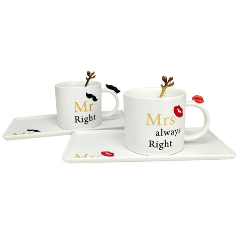 Set Of 2 Cups with Tray & Spoon Gifts For Him & her