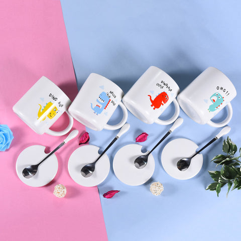 White Coffee Cups With Spoon & Ceramic Lid