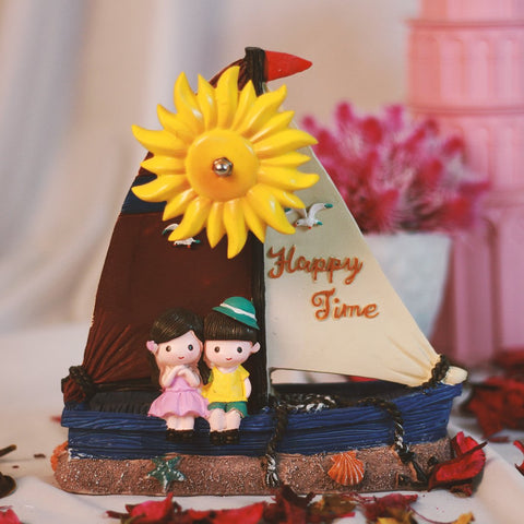 Lovely Couple in Sailing Boat Decorative Windmill - Gift for CoupleLovers - Giftii